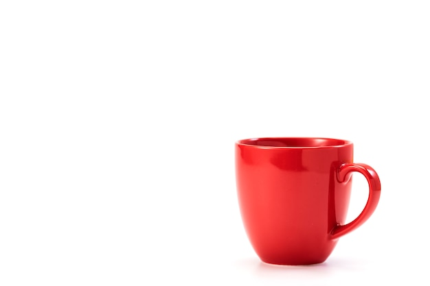 白地に赤のセラミックマグカップ
