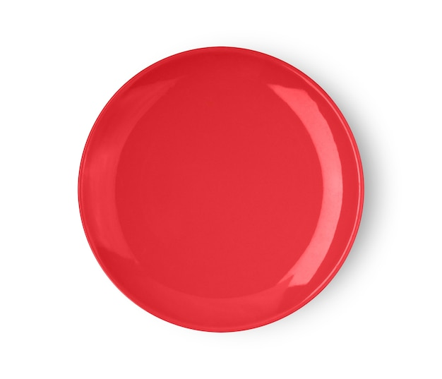 Red ceramic plate isolated on white