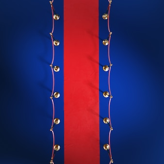 Red ceremonial carpet, golden barrier, top view, 3d