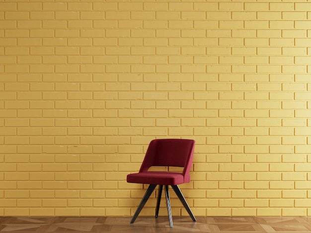 Red chair in modern style standing in front of brick wall