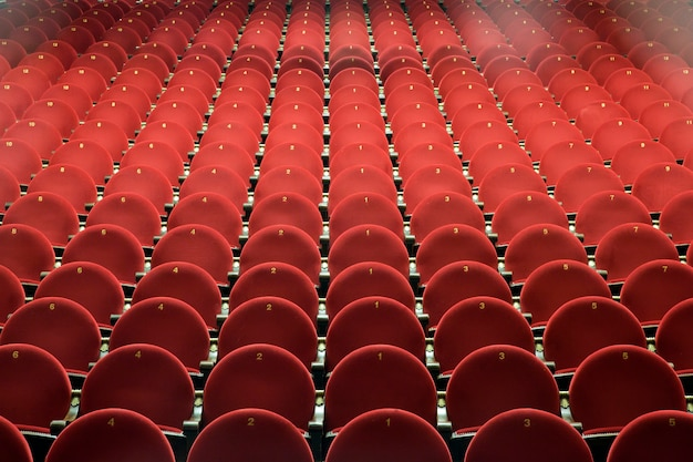 Red chairs in the theater