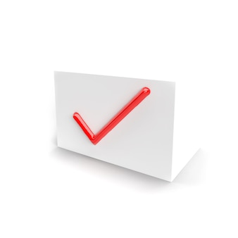 Red check mark. checkmark symbol on the white box for web and software interfaces. isolated. checkmark icon.  three-dimensional rendering, 3d render.