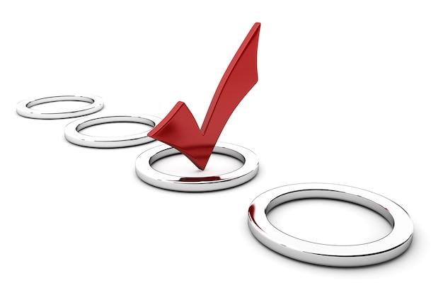 Красная галочка в изолированном круге