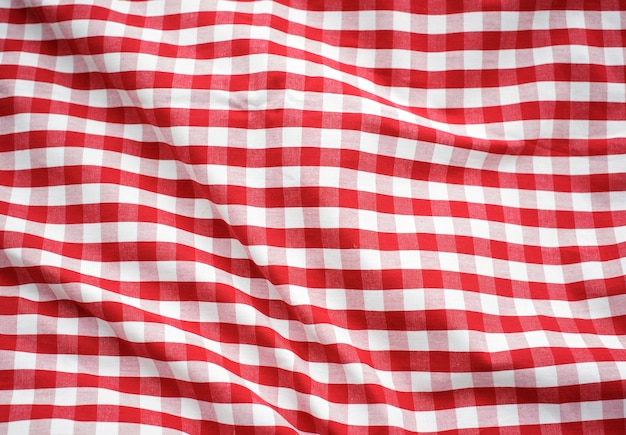 Red checked decoration tablecloth concept