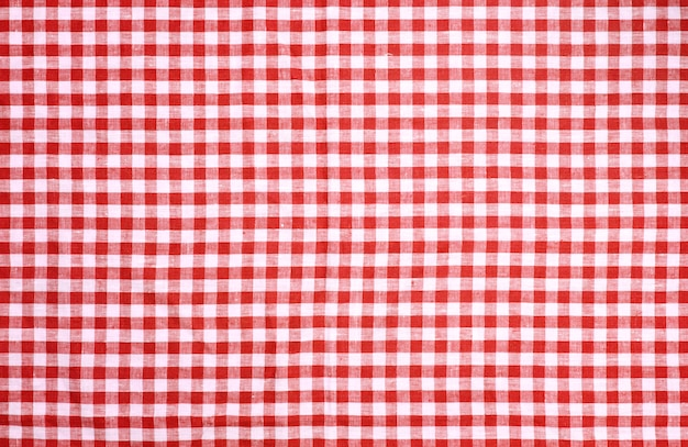 Red checkered tablecloth texture background