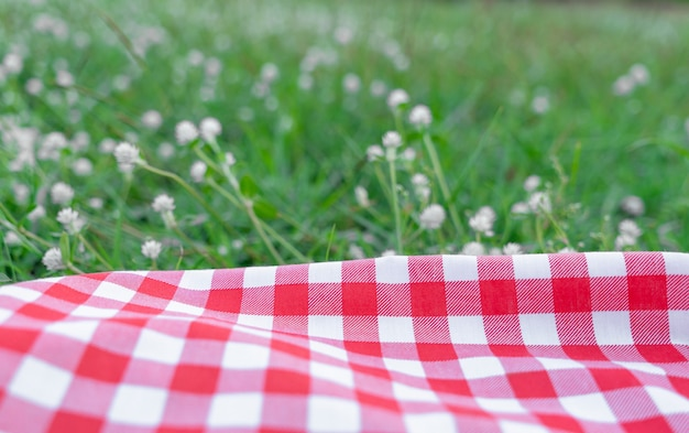 Red checkered tablecloth texture with on green grass at the garden
