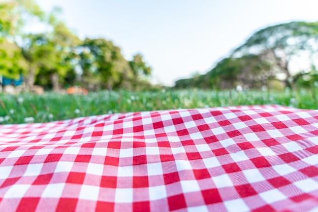 庭の緑の草の上に赤い市松模様のテーブルクロスのテクスチャ