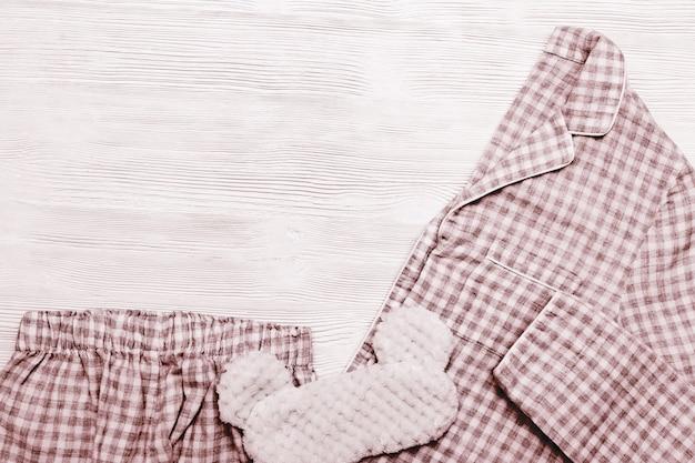 여성용 레드 체크 무늬 따뜻한 파자마