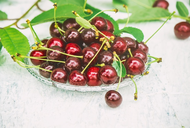Red cherries. selective focus. food and drink.