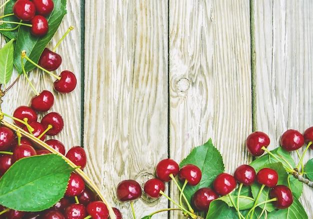 Red cherries. selective focus. food nature fruit.
