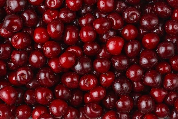 빨간 체리 질감, 계절 딸기. 상위 뷰, 오버 헤드입니다.