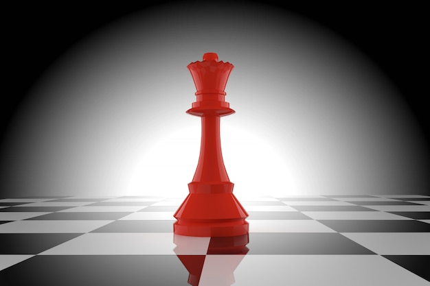 Красная шахматная королева на шахматной доске в 3d-рендеринге