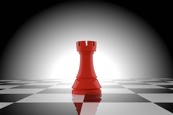 Red chess rook on chessboard in 3D rendering
