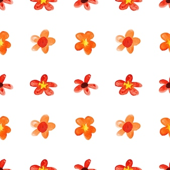赤い子供のような水彩画の花-シームレスな花柄