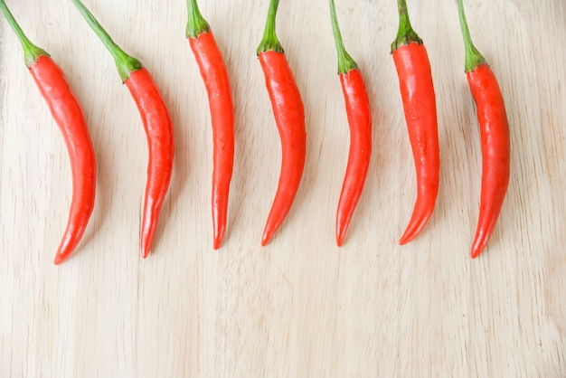 Red chili pepper on bright wood