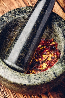 Red chili pepper grinded in mortar. high angle view