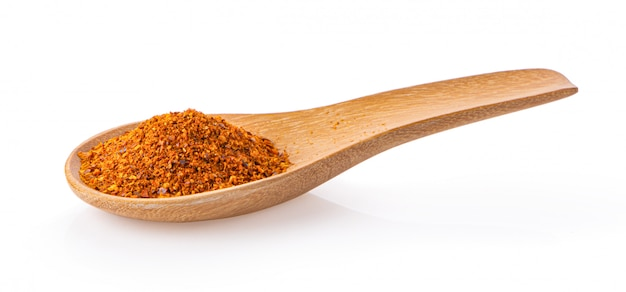 Red chili pepper powder in spoon on white wall