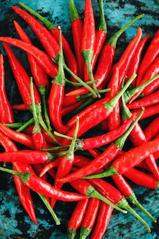 Red chili peppers close-up