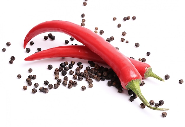 Red chili peppers and peppercorns