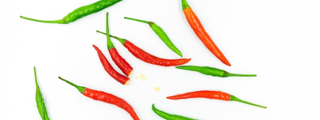 Red chili on white background, pepper, paprika