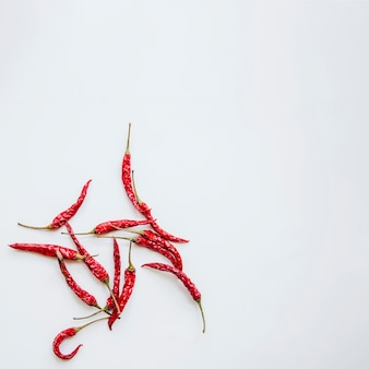 Red chilies against isolated background