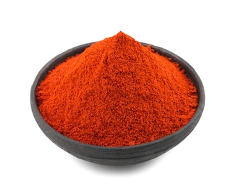 Red Chilli Pepper Powder Isolated on White Background