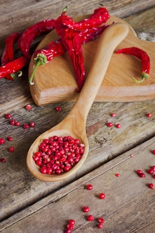 Red chilli pepper on wooden spoon