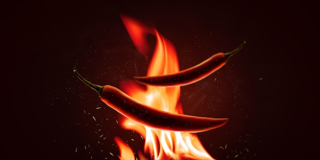 Red chilli peppers with a powder on a fire element and hot background