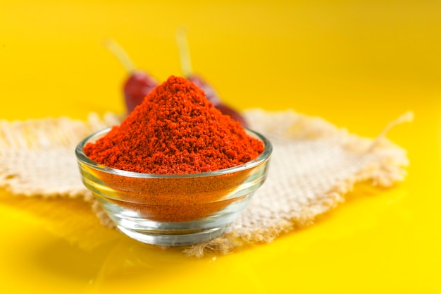 Red chilli powder in glass bowl on yellow surface