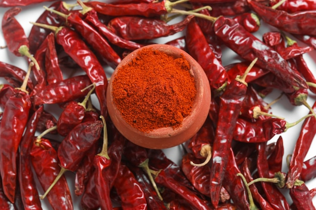 Red chilli powder with dried red chillies
