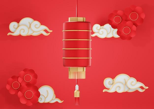 종이 꽃과 구름과 붉은 중국 제등. 중국 새 해 배경 3d 렌더링