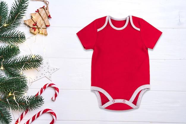 Красное рождественское детское боди
