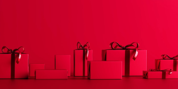 Red christmas background with gift boxes, 3d render, 3d illustration