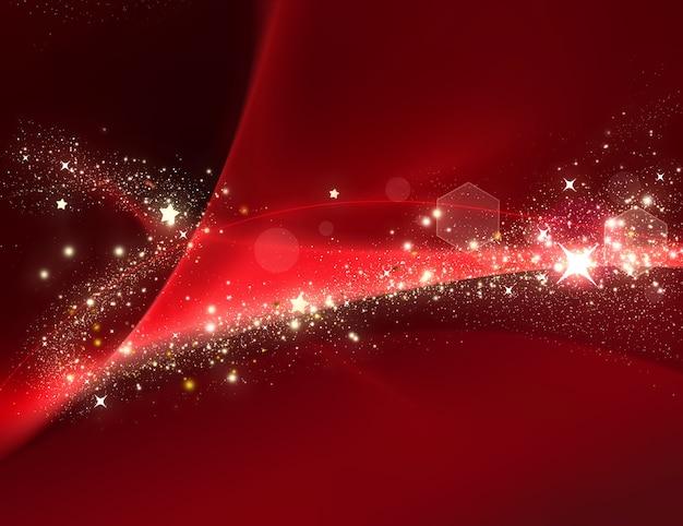 Красный новогодний фон с сиянием