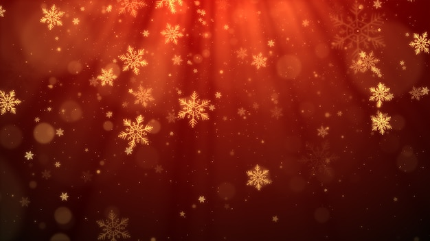 Red christmas background with snowflakes, shiny lights and particles bokeh in elegant theme.