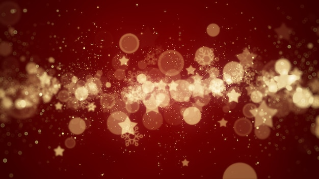 Red christmas background with snowflakes star and particles