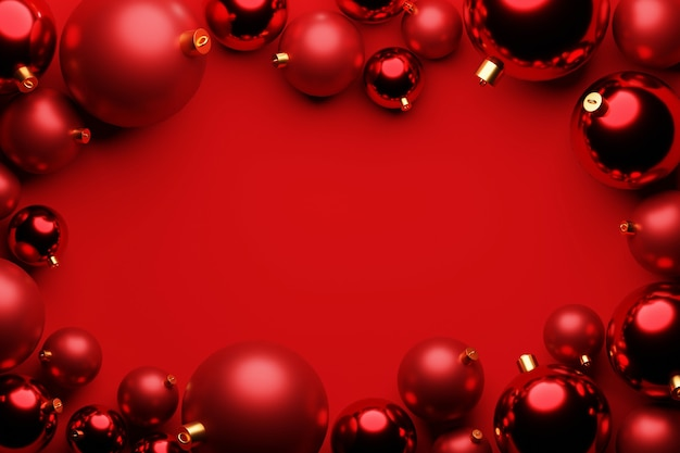 Red christmas ball decoration on red background with center copy space. 3d rendering