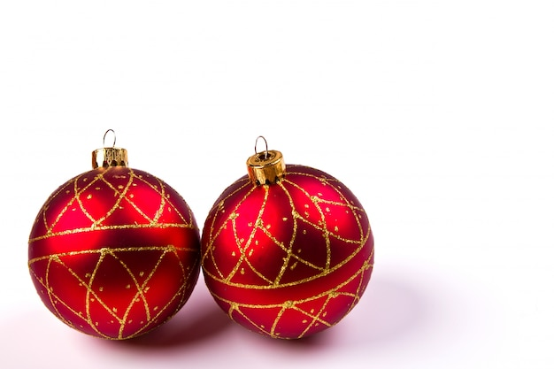Red christmas ball with christmas decorations