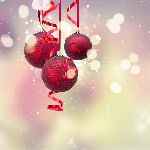 Красные новогодние шары на праздничном фоне боке