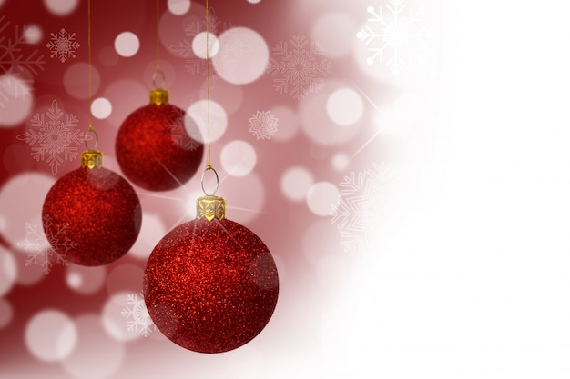 Red christmas balls with bokeh background