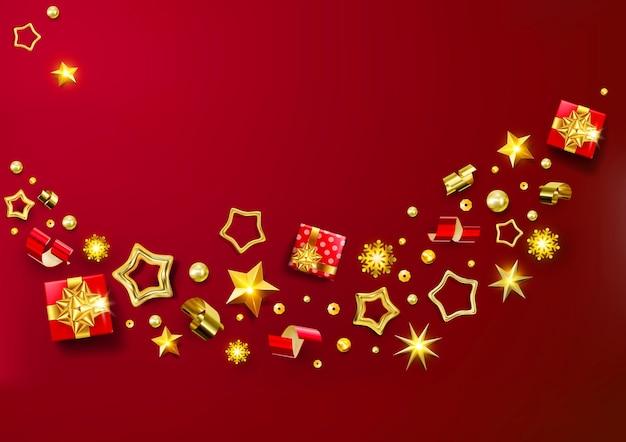 레드 크리스마스 배너. 화 환, 현실적인 선물 상자, 눈송이 및 반짝이 금색과 빨간색 색종이, 선물 상자 크리스마스 배경. 세련된 크리스마스 인사말 카드, 포스터, 인사말 카드, 헤더, 웹 사이트