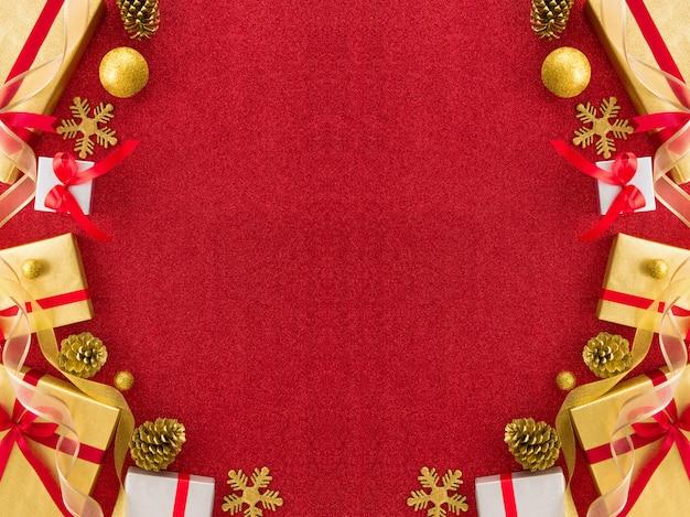 Red christmas border design background