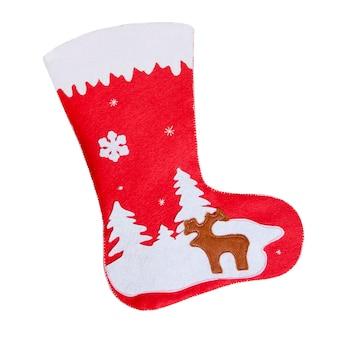 Красные рождественские конфеты носок на белом изолированном фоне