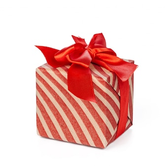 Red christmas gift box isolated