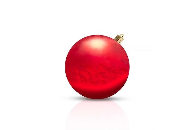 白で隔離の赤いクリスマス飾り