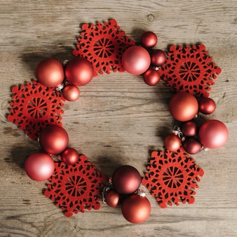 Red christmas ornaments with space in the middle