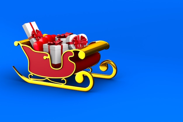 Red christmas sled on blue background. isolated 3d illustration