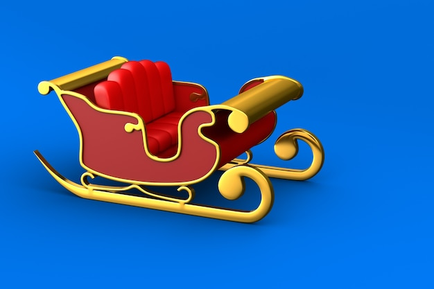 Красные рождественские сани на синем фоне. изолированные 3d иллюстрации