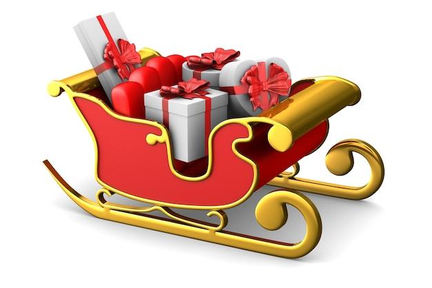 白いスペースに赤いクリスマスそり。分離された3dイラスト
