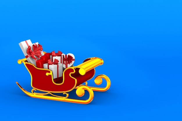 Red christmas sled with gift boxes  on blue. isolated 3d illustration